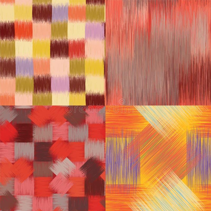 套与五颜六色的难看的东西条纹的四个无缝的样式 皇族释放例证