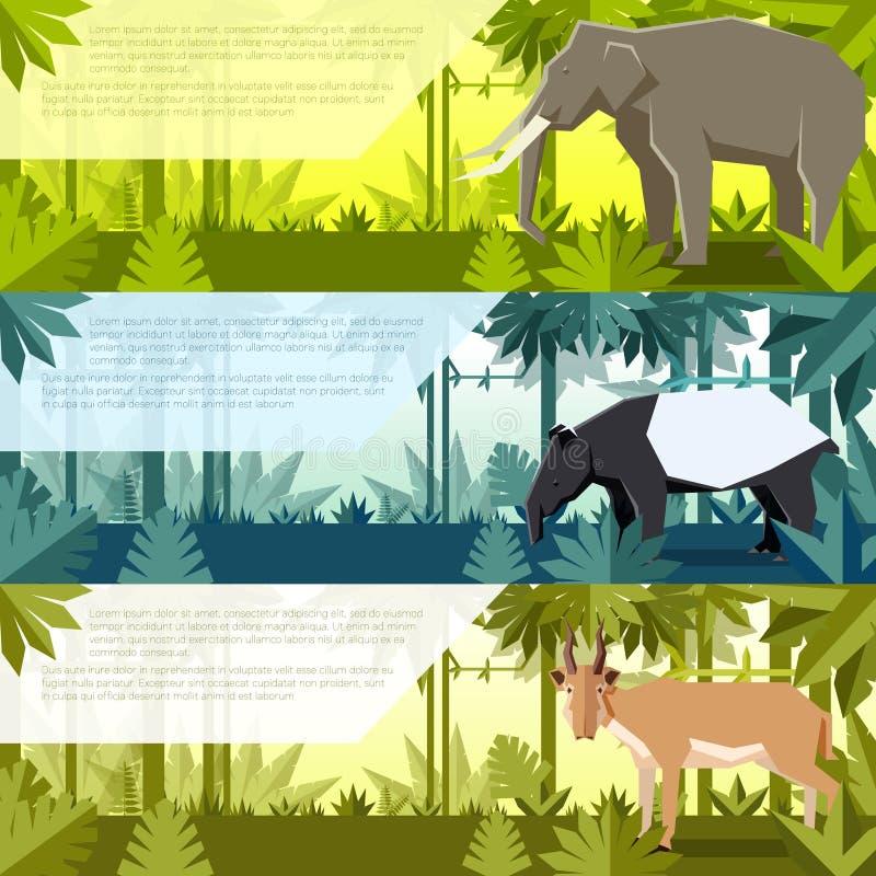 套与亚洲动物的平的横幅 向量例证