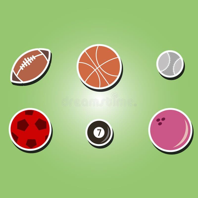 套与体育球的颜色象 库存例证