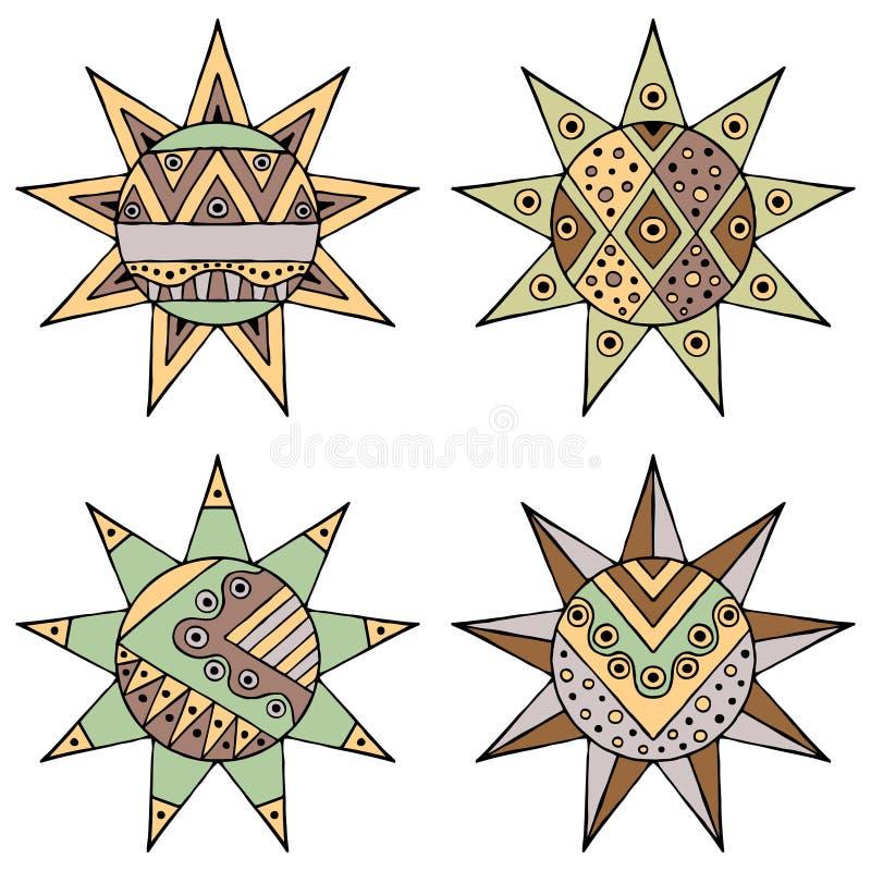 套与光的传染媒介手拉的装饰风格化葡萄酒褐色幼稚部族太阳 乱画样式,部族图表illustrat 库存例证