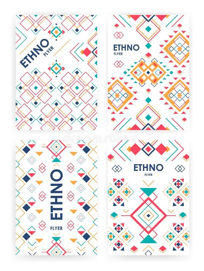 套与几何种族装饰品的背景 与地方的ethno抽象模板文本的 向量例证