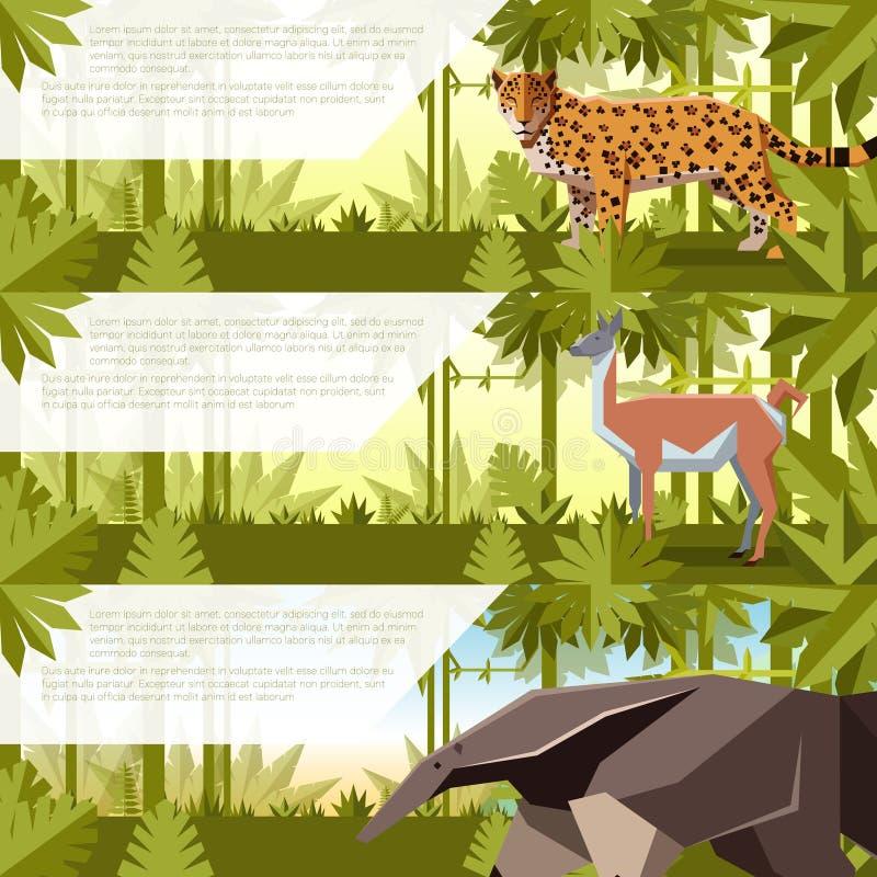 套与南美洲动物的横幅 库存例证