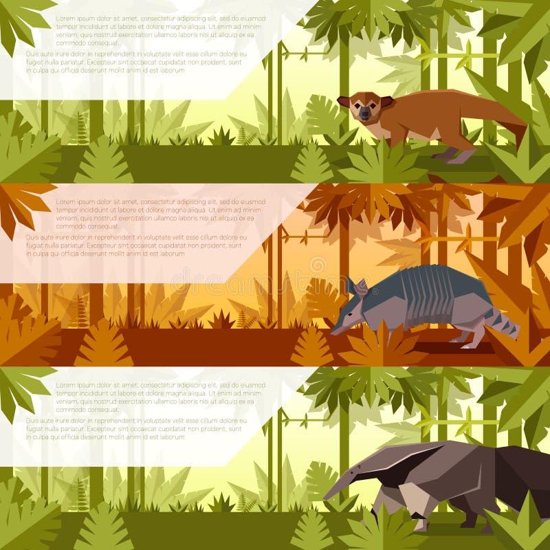 套与南美洲动物的横幅 皇族释放例证