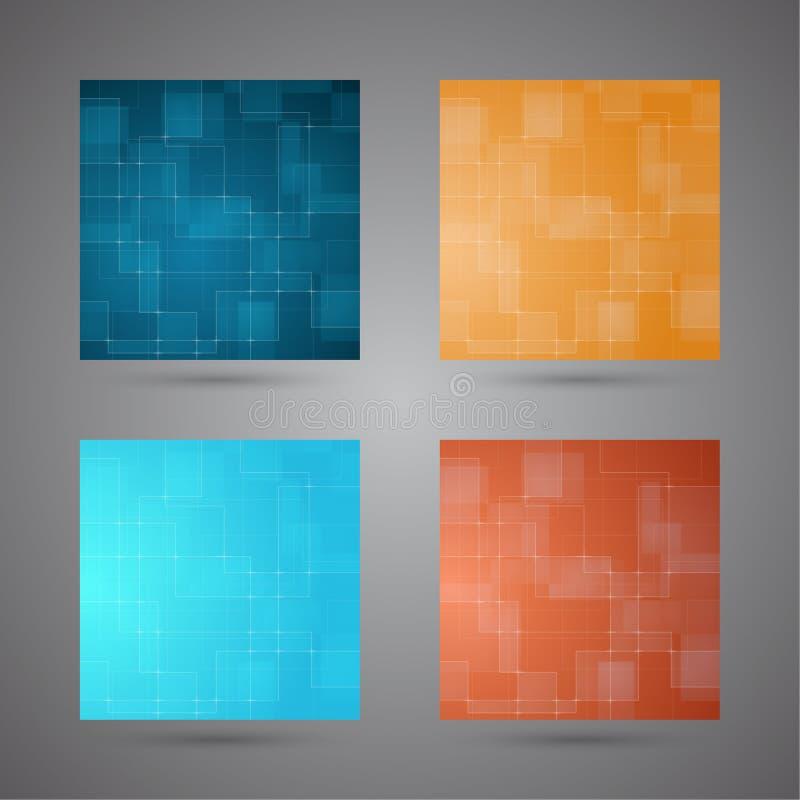 套与发光的色的抽象背景排行。 皇族释放例证