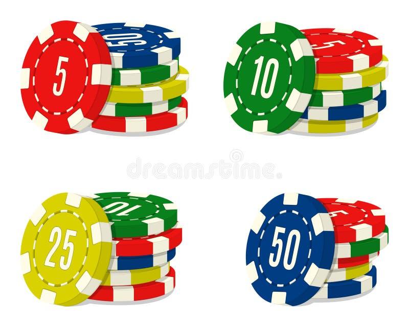 套与另外价值的四赌博娱乐场芯片堆 赌博场所硬币堆  向量例证