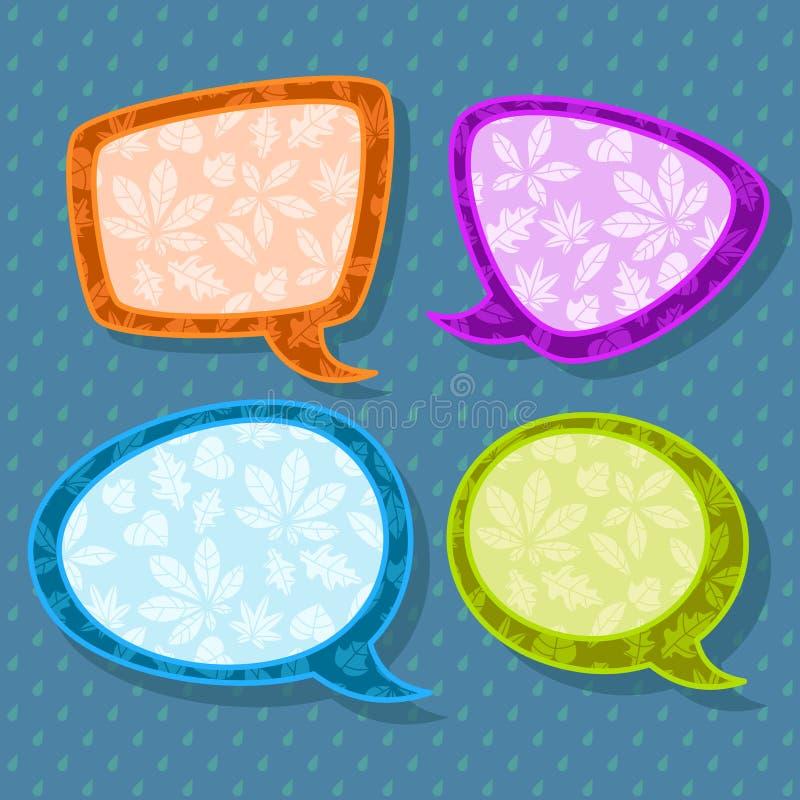 套与叶子的四五颜六色的讲话泡影在无缝的雨珠样式 库存例证