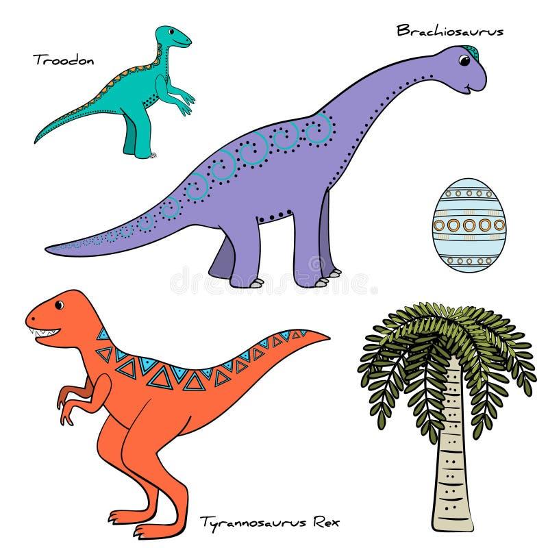 套与名字的风格化恐龙 皇族释放例证