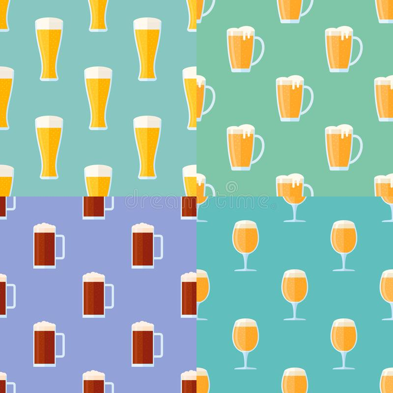 套与啤酒杯的无缝的样式 向量例证