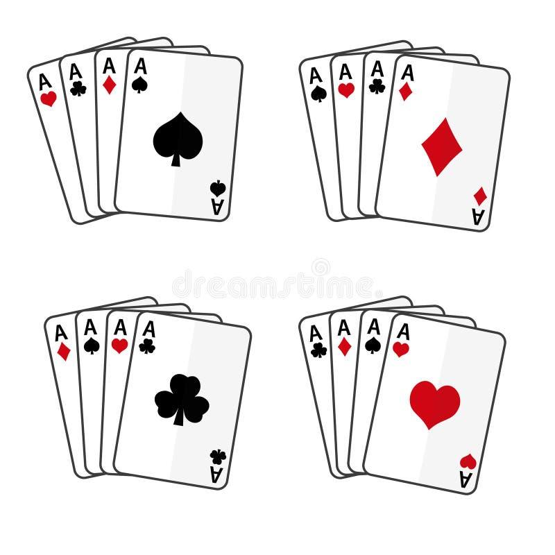 套与四一点的纸牌 库存例证