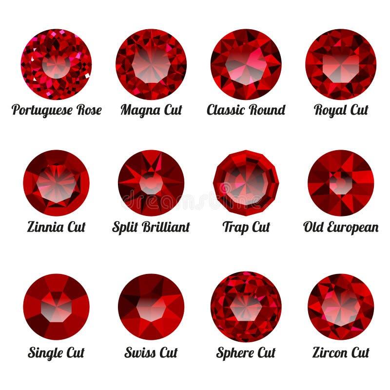 套与圆的裁减的现实红色红宝石 皇族释放例证