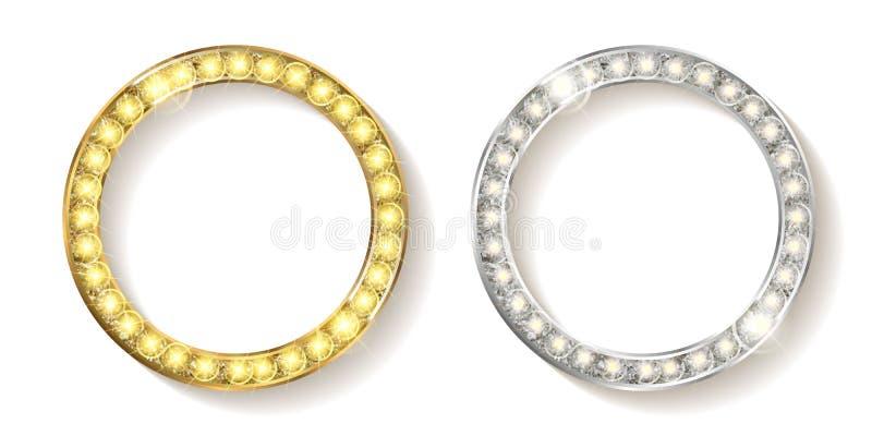 套与圆银色的框架的金子 皇族释放例证