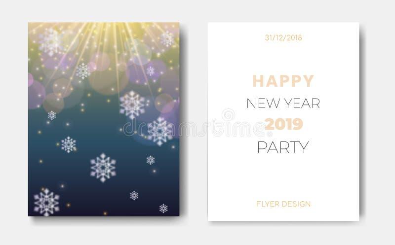 套与圣诞节雪花,发光的星,轻的闪光,聚焦圈子的2位新年快乐夜飞行物横幅  皇族释放例证