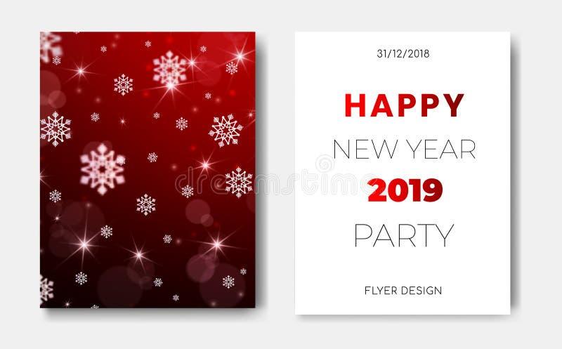 套与圣诞节雪花,发光的星,轻的闪光,聚焦圈子的2位新年快乐夜飞行物横幅  向量例证