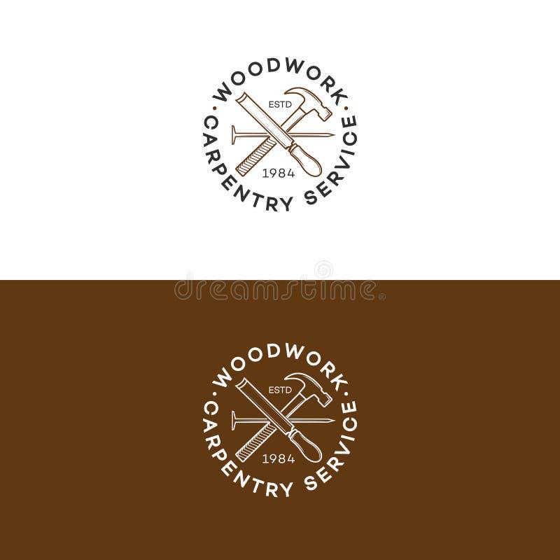 套与在木匠业服务的背景和钉子的木制品商标隔绝的锤子 皇族释放例证