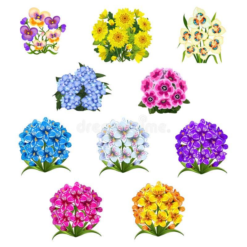 套与在白色背景隔绝的花五颜六色的花束的样式  传染媒介动画片特写镜头例证 库存例证