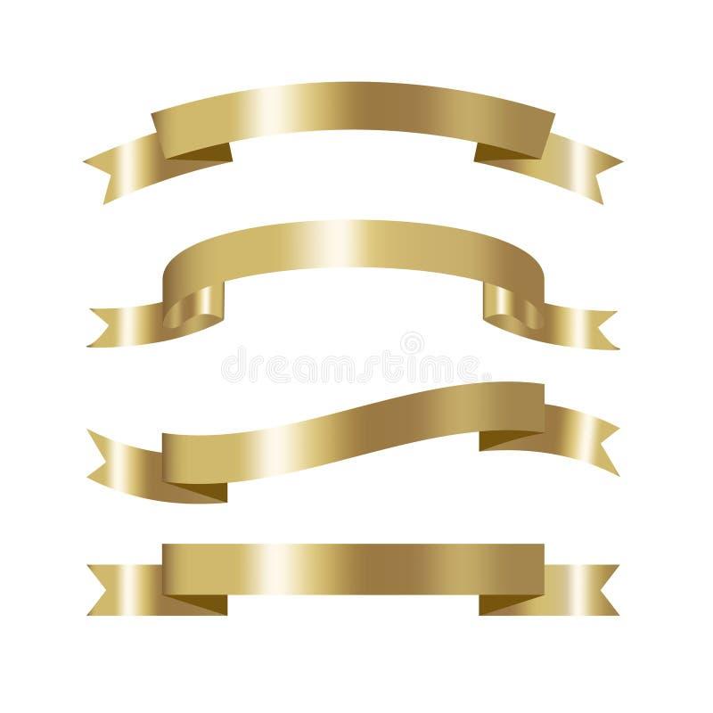 套与地方的金黄丝带汇集3d作用文本的ve 库存例证