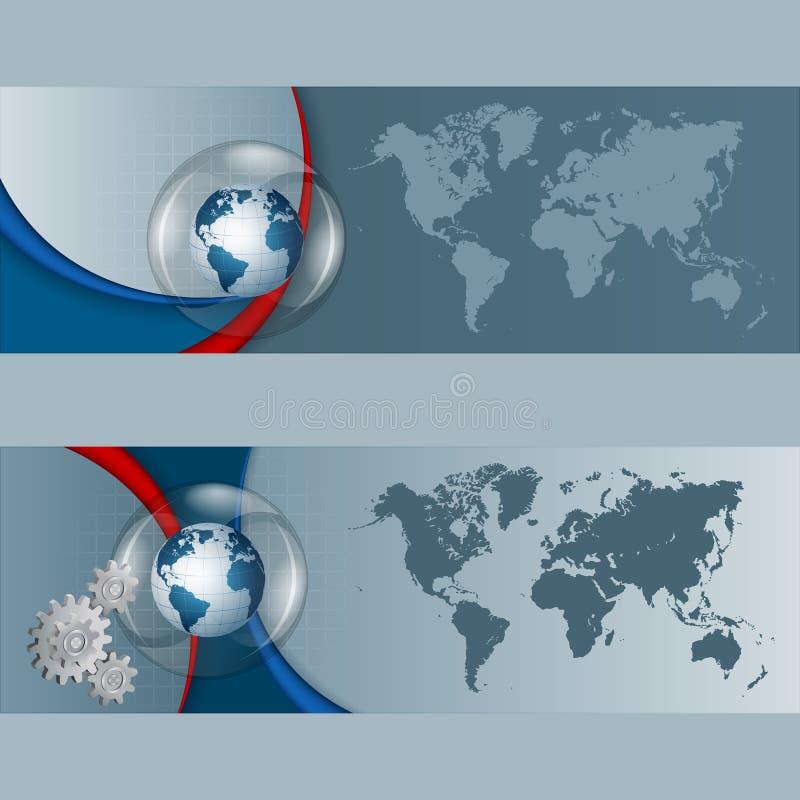 套与地球地球和世界地图的横幅 库存例证