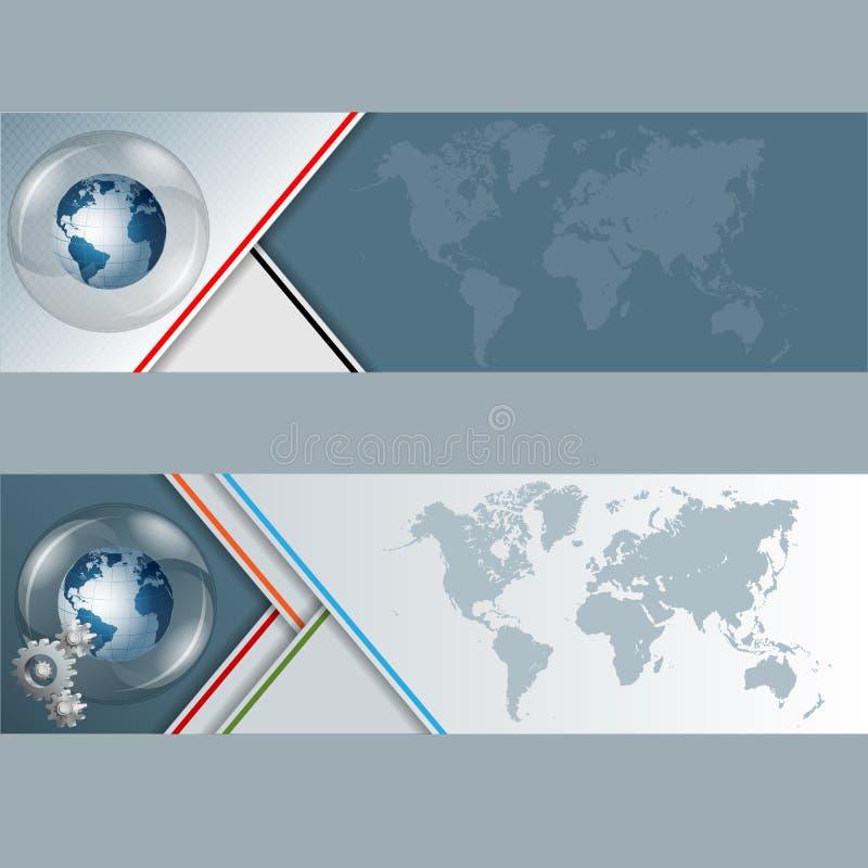 套与地球地球的横幅在玻璃按钮/球形 向量例证