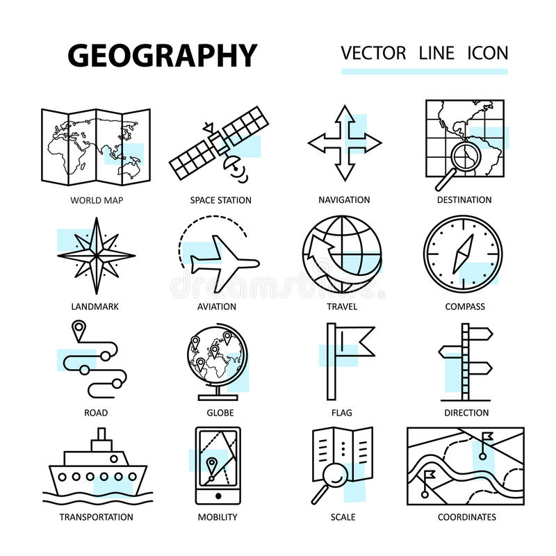 套与地理元素的现代线性象 向量例证