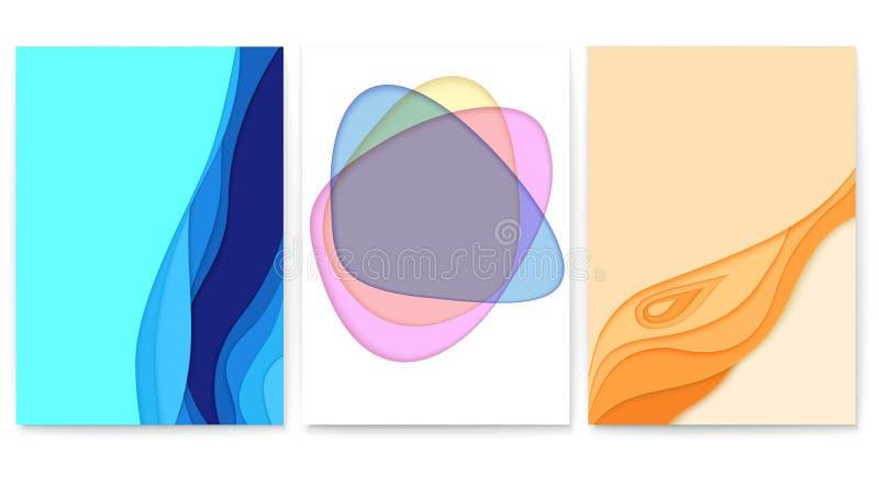 套与多层数的抽象纸裁减设计 与被删去的纸形状的传染媒介布局 与雕刻艺术的海报 向量例证