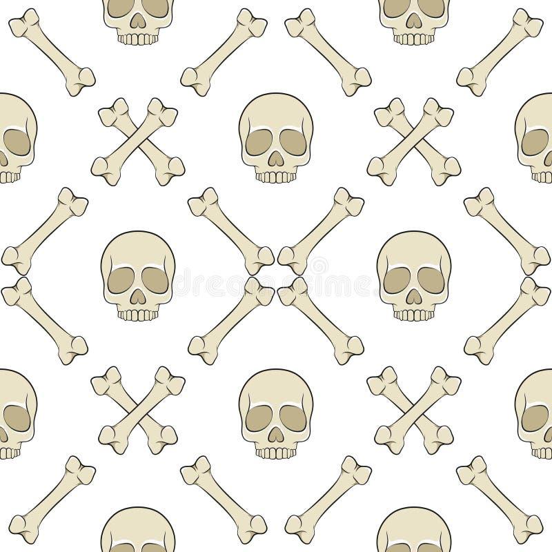 套与头骨和骨头的无缝的样式 传染媒介色的背景 向量例证
