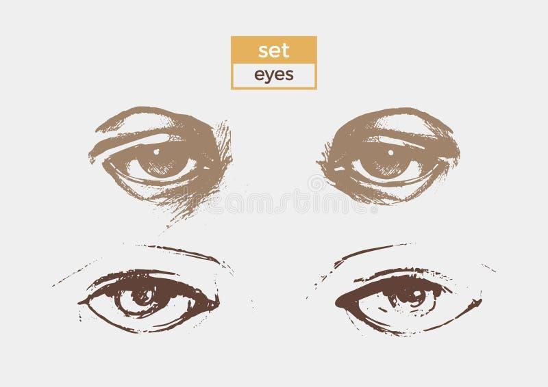 套与学生和眼眉细部图的不同的眼睛  传染媒介剪影 皇族释放例证