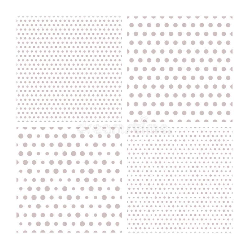 套与小和大灰色小点的四个传染媒介无缝的样式在白色背景 向量例证