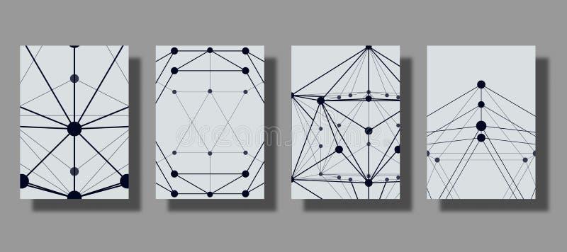 套与平的样式的框架现代几何图表,线栅格和小点 时髦的技术经验 可适用为B 皇族释放例证