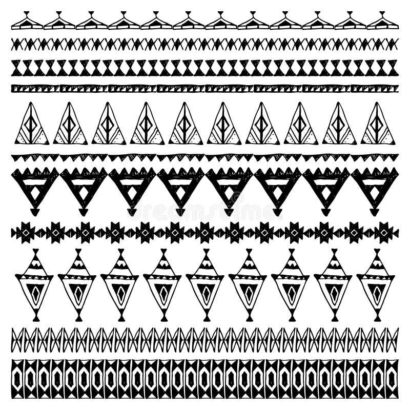 套与当地之字形装饰品的刷子 手拉的种族阿兹台克边界 在空白背景的黑色等高 向量 库存例证