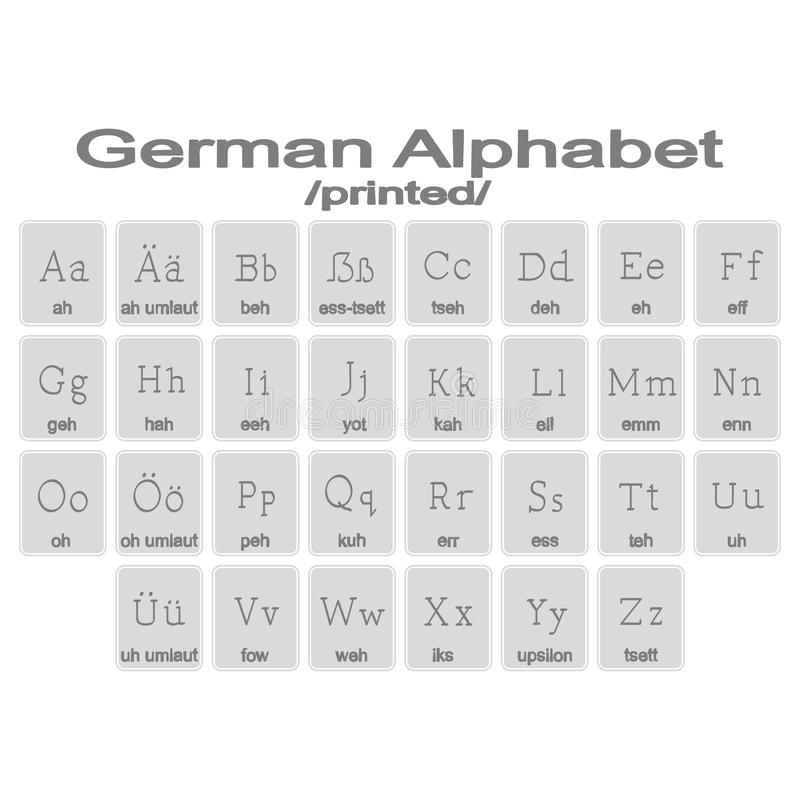 套与德语Aphabet的单色象 库存例证