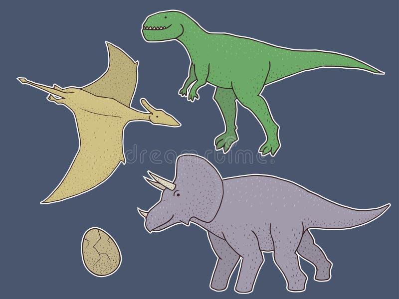 套与恐龙的传染媒介贴纸 图库摄影