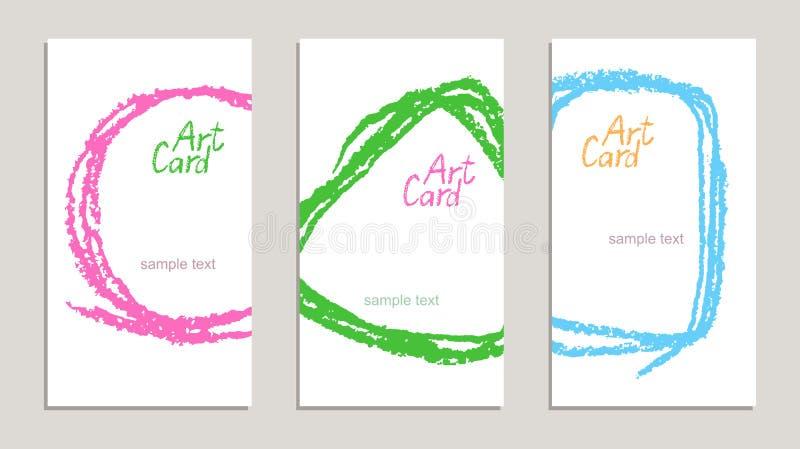 套与手图画纹理的手工制造企业样品卡片在白色 库存例证