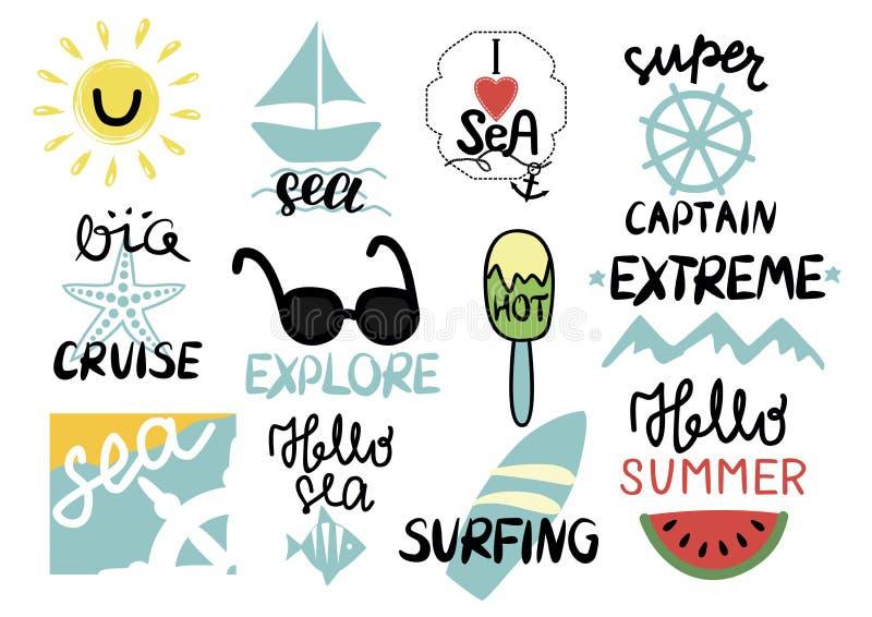 套与手字法的12个夏天题字我爱海,极端,超级上尉,大巡航,探索,冲浪,你好 皇族释放例证