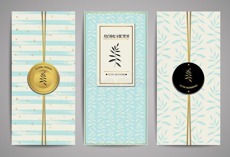 套与手拉的花卉设计元素的小册子 传染媒介时髦模板 向量例证