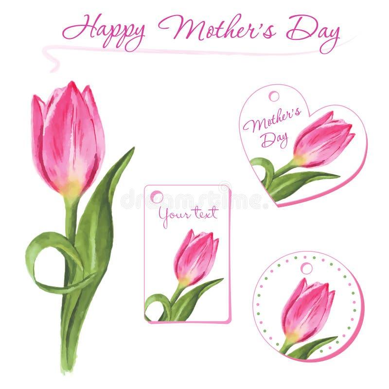 套与手拉的郁金香的小明信片 花卉设计要素 免版税库存照片