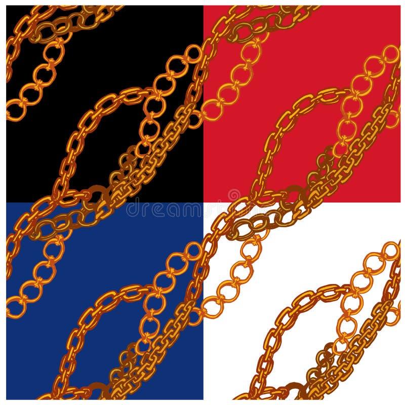 套与手拉的金链子的无缝的样式 皇族释放例证
