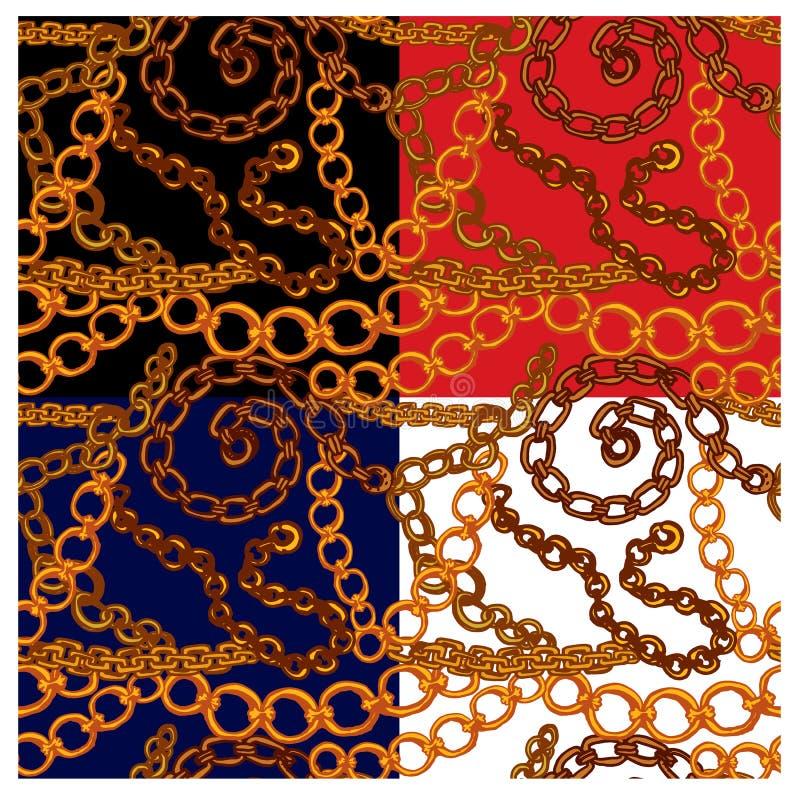 套与手拉的金链子的无缝的样式 向量例证