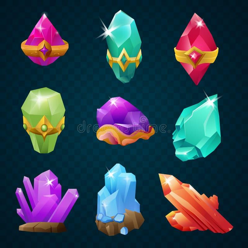 套与护身符的五颜六色的不可思议的能量宝石宝石围绕形状 传染媒介游戏设计元素 库存例证