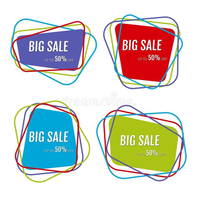 套与抽象五颜六色的混乱线的四个大销售贴纸 库存例证