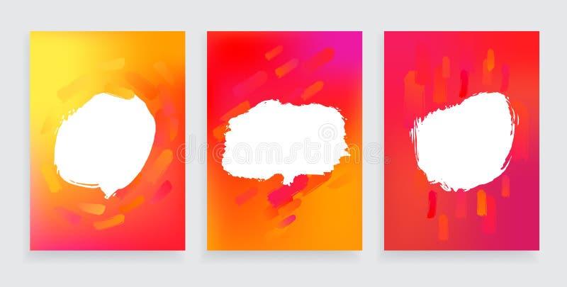 套与抽象设计元素的三一个样式横幅 现代当代海报的,飞行物艺术品和 向量例证