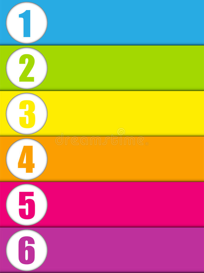 套与数字的五颜六色的横幅 皇族释放例证