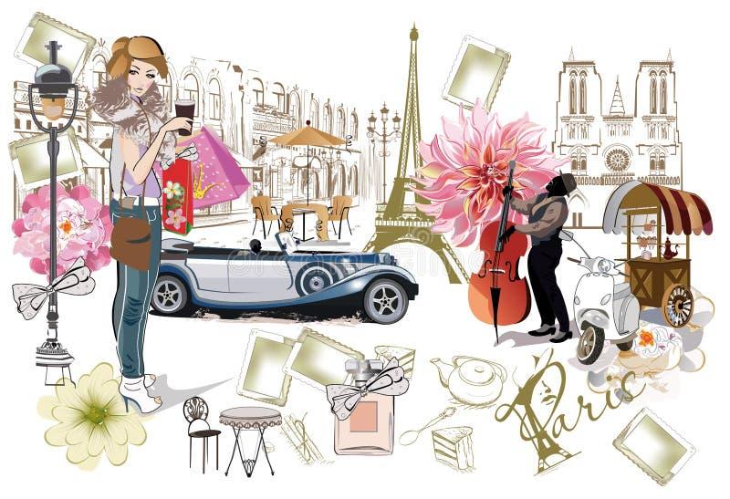 套与时尚女孩、咖啡馆和音乐家的巴黎例证 库存例证