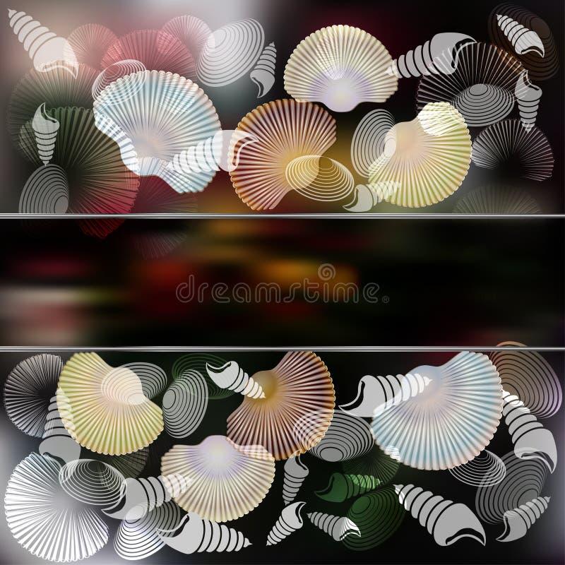 套与时髦的构成和黑暗的背景的海扇壳 皇族释放例证