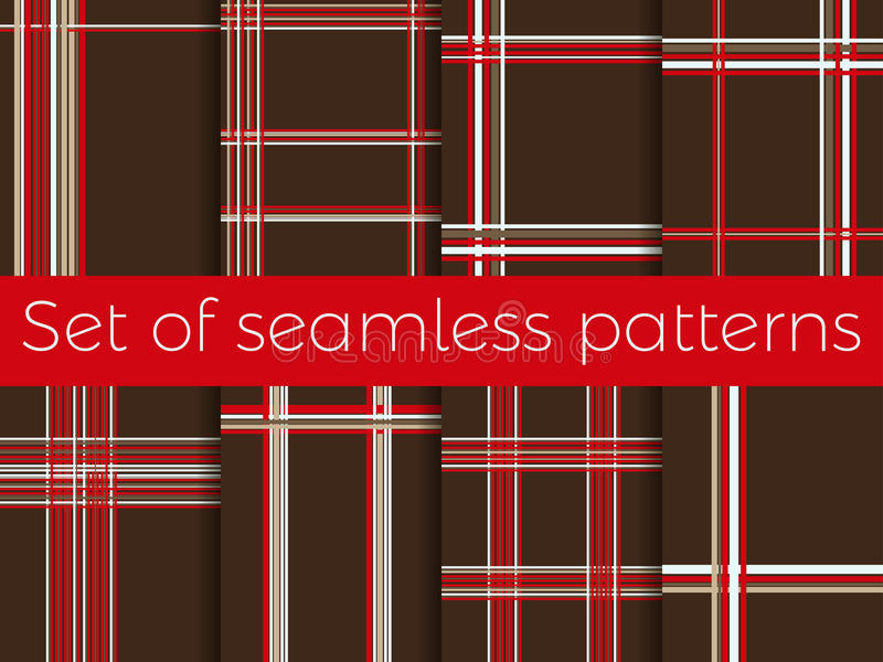 套与条纹的无缝的样式在笼子 抽象背景 向量 皇族释放例证