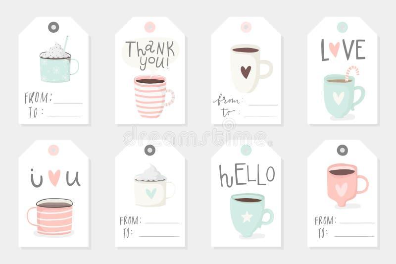 套与杯子的8个逗人喜爱的立即可用的礼物浪漫标记 向量例证