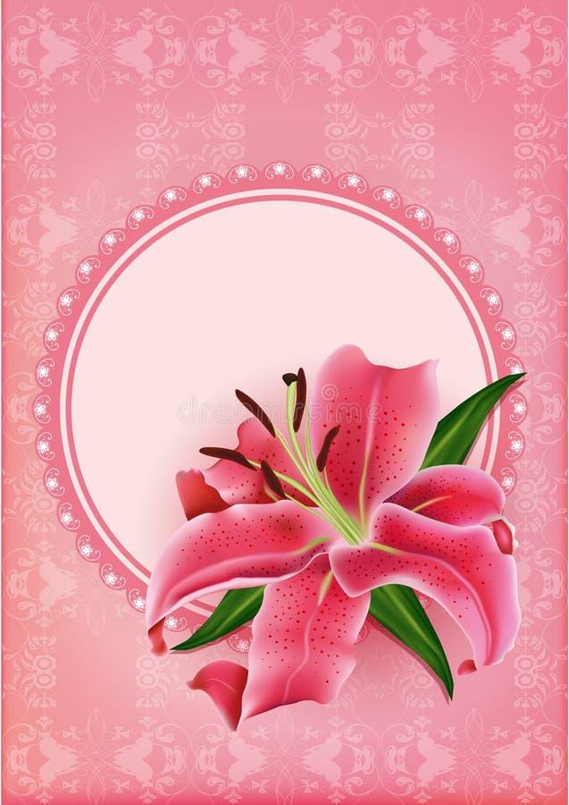 套与桃红色百合的美丽的礼品券 皇族释放例证