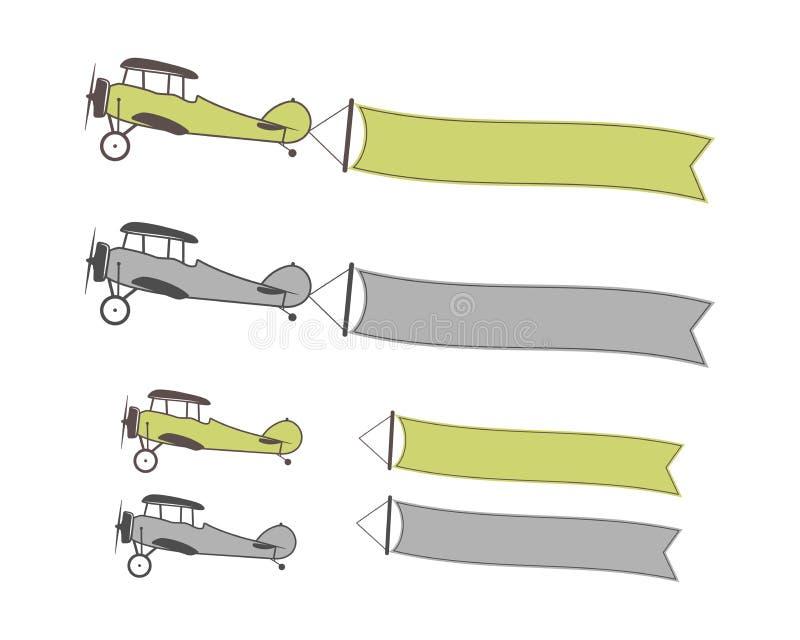 套与横幅的飞机标志,行情的,文本,口号,刺激空的形式签字 减速火箭的双翼飞机象征 库存例证