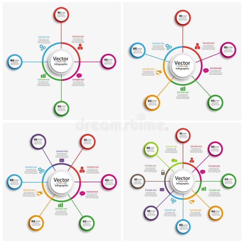 套与步,选择的五颜六色的infographics模板 库存例证