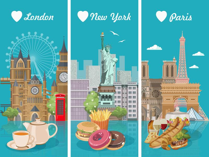 套与法国,美国,英国烹调的传染媒介例证 美国的,英国,法国食物海报 膳食在美国和英国 向量例证