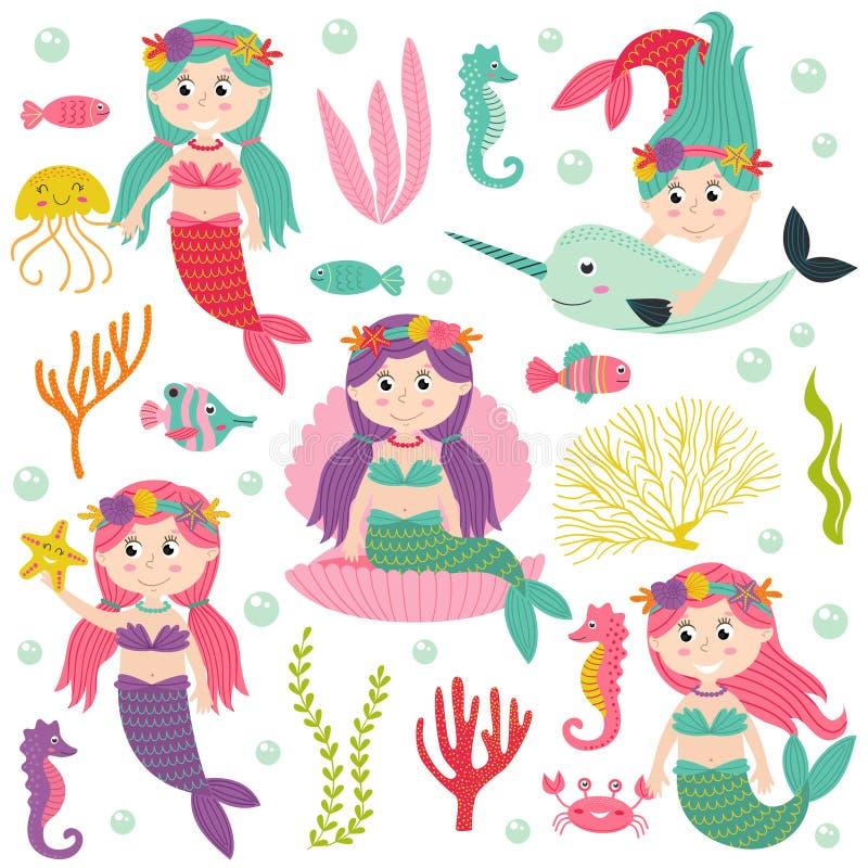 套与海洋动植物的美人鱼 库存例证